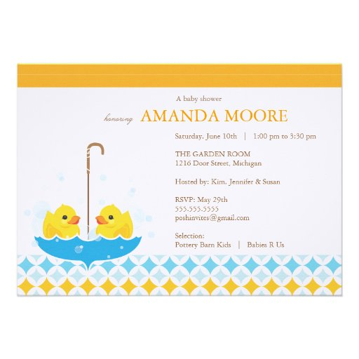 Twin Rubber Ducky Baby Shower Invitation