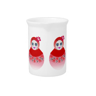 Twin Russian Babushka Dolls Beverage Pitcher