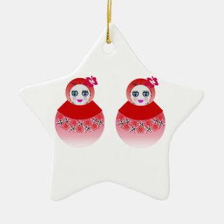 Twin Russian Babushka Dolls Ceramic Ornament