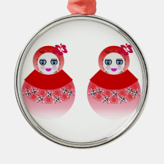 Twin Russian Babushka Dolls Metal Ornament