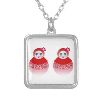Twin Russian Babushka Dolls Silver Plated Necklace