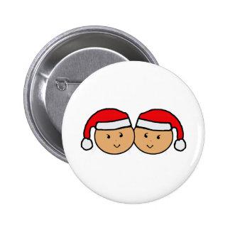 Twin Santa Hat Graphic 2 Inch Round Button