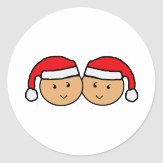 Twin Santa Hat Graphic Classic Round Sticker