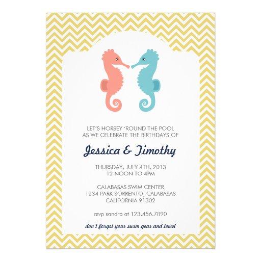 Twin Seahorses Double Birthday Party Invitation