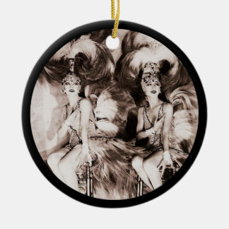 Twin Showgirls in Feathers Ceramic Ornament
