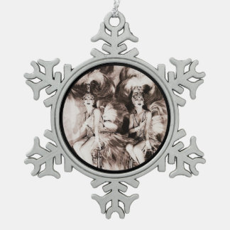 Twin Showgirls in Feathers Snowflake Pewter Christmas Ornament