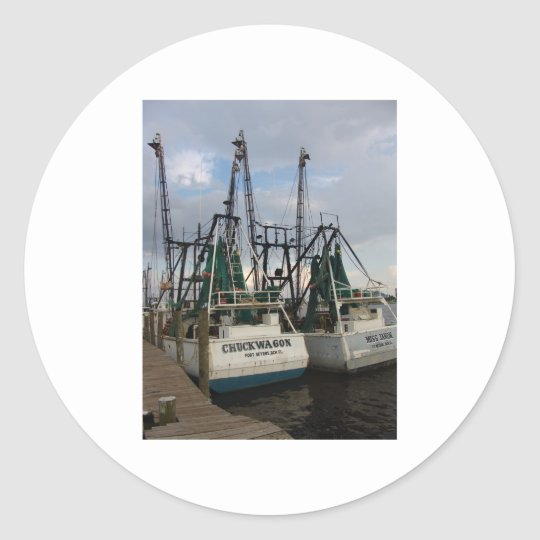 twin shrimp boat classic round sticker