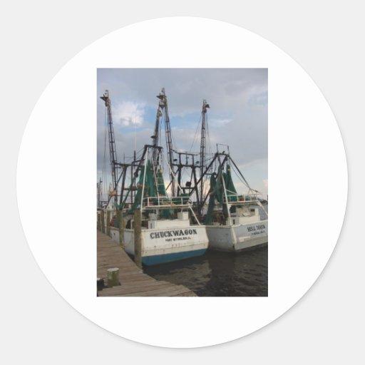 twin shrimp boat round sticker