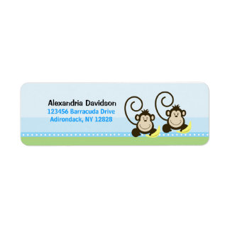 Twin Silly Monkeys Custom Address Labels
