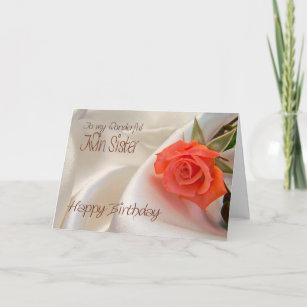 Twin Sister A Birthday Card With Pink Rose