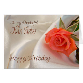 Twin sister, a birthday card with a pink rose