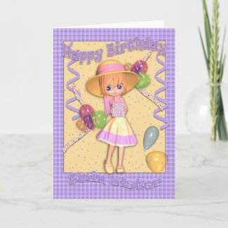Twin Sister Birthday Card - Cute Little Girl card