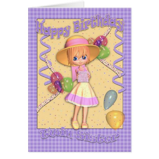 Twin Sister Birthday Card - Cute Little Girl