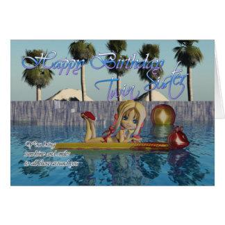 Twin Sister Birthday card, Moonies Cutie Pie pool Greeting Card