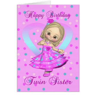 twin sister birthday card - pink and blue polka do