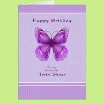 Twin Sister Birthday Card - Purple Butterfly
