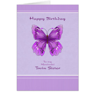 Twin Sister Birthday Card - Purple Butterfly