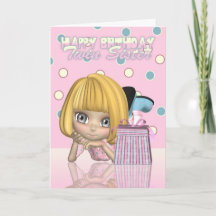 Twin Sister Birthday Card With Cute Little Girl An