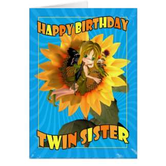 Twin Sister Birthday Card with fairy Cutie Pie