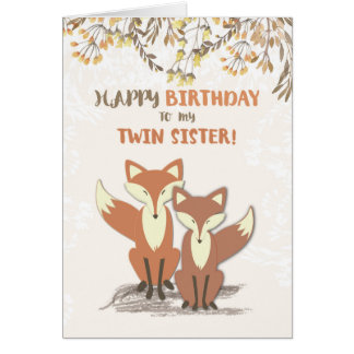 Twin Sister Birthday Foxes, Leaves on Branches Card