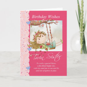 A birthday wish for the twins invitations stationery zazzle twin sister birthday wishes greeting card with fai m4hsunfo