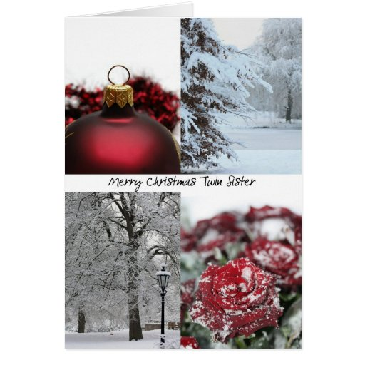Twin Sister Christmas Red Winter collage Cards