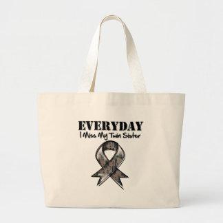 Twin Sister - Everyday I Miss My Hero Military Jumbo Tote Bag