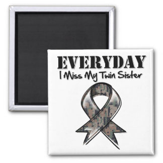 Twin Sister - Everyday I Miss My Hero Military 2 Inch Square Magnet