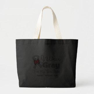 Twin Sister - Gray Ribbon Awareness Canvas Bags