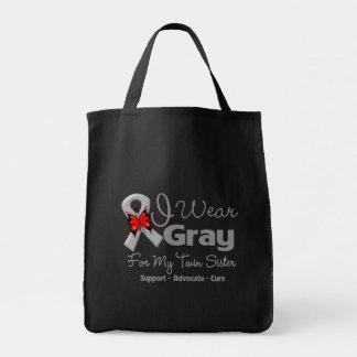 Twin Sister - Gray Ribbon Awareness Bag