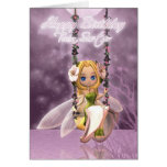 Twin Sister Happy Birthday cute fairy on flower sw Greeting Card