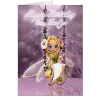 Twin Sister Happy Birthday cute fairy on flower sw Card
