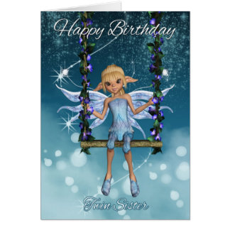 Twin Sister Happy Birthday cute fairy on swing Cards