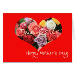 Twin Sister  Happy Mother's Day rose card