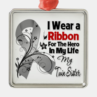 Twin Sister Hero in My Life Brain Cancer Christmas Ornament