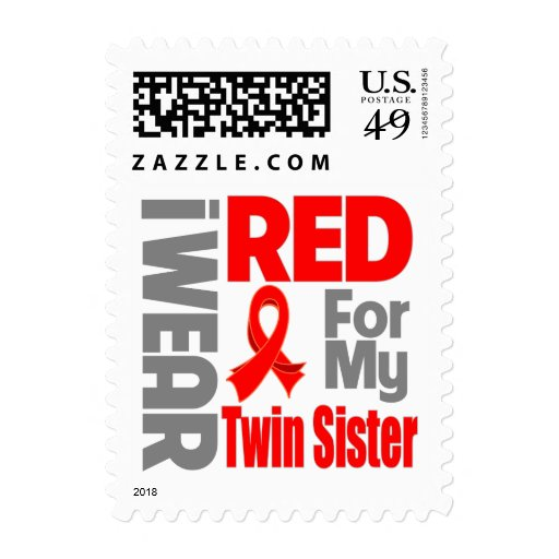 Twin Sister - I Wear Red Ribbon Postage Stamps