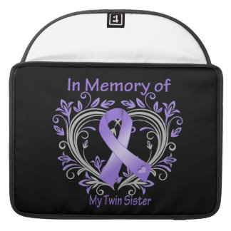 Twin Sister - In Memory Heart Ribbon Hodgkins Dise Sleeves For MacBook Pro