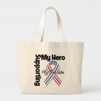 Twin Sister - Military Supporting My Hero Large Tote Bag