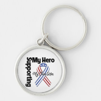Twin Sister - Military Supporting My Hero Silver-Colored Round Keychain