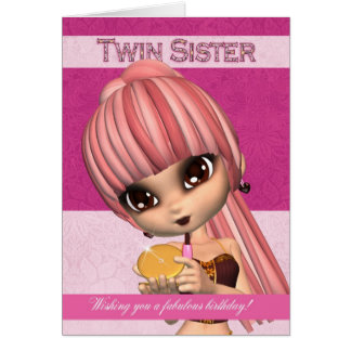 Twin Sister Trendy Birthday Girl Greeting Card