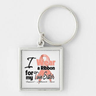 Twin Sister - Uterine Cancer Ribbon Silver-Colored Square Keychain