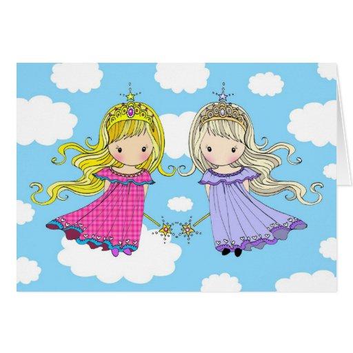 Twin Sisters Birthday Card Fairy Princess
