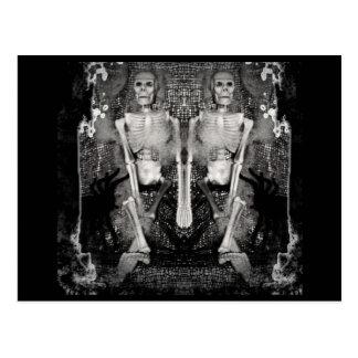 Twin Skeletons for Halloween Postcard