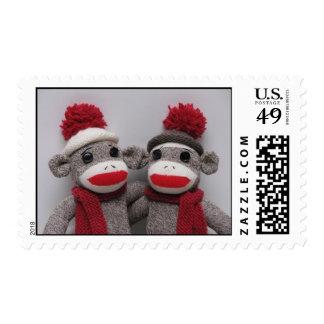 TWIN SOCK MONKEY'S POSTAGE Stamps