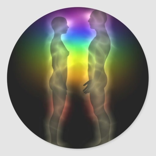 twin souls chakras first meeting classic round sticker