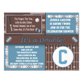 Twin Sports Baby Shower Invitations