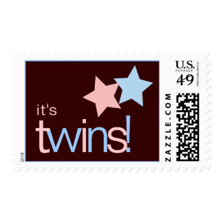 Twin Stars Pink Blue Postage