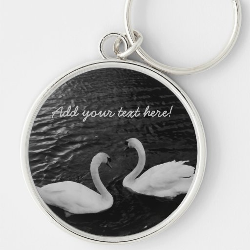 Twin Swans Silver-Colored Round Keychain