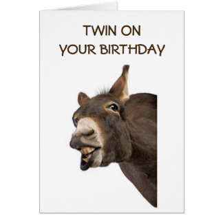 "TWIN - TALKING DONKEY SAYS ""YOU ARE GETTING OLD"" CARD"