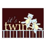 Twin Teddy Bear Boys Baby Shower Invitation